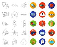 Hacker and hacking outline,flat icons in set collection for design. Hacker and equipment vector symbol stock web. Hacker and hacking outline,flat icons in set stock illustration