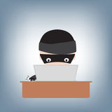Hacker hacking password on notebook on table, illustration vector in flat design Royalty Free Stock Photos