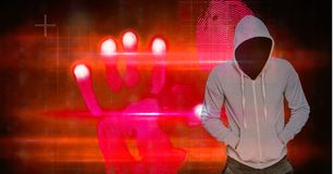 Hacker with hands in pockets standing by hand shape Royalty Free Stock Photos