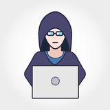 Hacker In Hodie. Hacker in hoodie sitting with laptop. Vector concept illustration Stock Photo