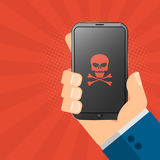 The hacker is holding a hacked gadget in his hands. Electronic high-tech phone smartphone. Web programming. Red skull on the scree royalty free illustration