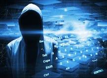 Hacker in a hood on dark blue background stock illustration