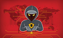 Hacker of hooded man. With binary data and network security terms. vector illustration Stock Photography