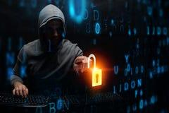 Hacker in hoodie dark theme stock images