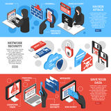 Hacker Horizontal Banners Set. Set of horizontal isometric banners with hacker attacks network security and personal data protection  vector illustration Royalty Free Stock Image