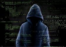 Hacker i język programowania fotografia stock