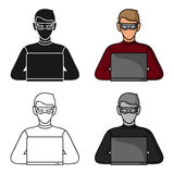 Hacker icon in cartoon style isolated on white background. Crime symbol stock vector illustration. Hacker icon in cartoon style isolated on white background Royalty Free Stock Image