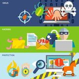 Hacker icons flat banner set ilustración del vector