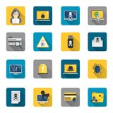 Hacker icons flat buttons Stock Photography