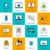 Hacker Icons Flat Line Stock Photography