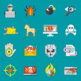Hacker icons flat set Stock Image