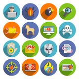 Hacker icons flat set. Hacker flat icons set with infected files e-mail spam viruses and bugs isolated vector illustration Royalty Free Stock Image