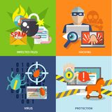 Hacker icons flat set Royalty Free Stock Photos
