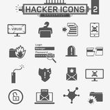 Hacker icons. Identity theft, viruses and different technologies, vector black and white characters Royalty Free Stock Image