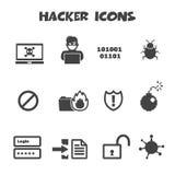 Hacker icons. Mono vector symbols Royalty Free Stock Photo