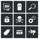 Hacker icons set Stock Images