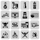 Hacker icons set black Stock Photos