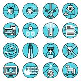 Hacker icons set blue line Royalty Free Stock Photography
