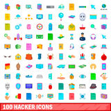 100 hacker icons set, cartoon style. 100 hacker icons set in cartoon style for any design vector illustration Stock Photos