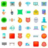 Hacker icons set, cartoon style. Hacker icons set. Cartoon style of 36 hacker vector icons for web isolated on white background Stock Image