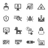 Hacker Icons Set. Hacker and computer security black icons set isolated vector illustration Royalty Free Stock Photos