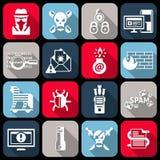 Hacker icons set flat Royalty Free Stock Image