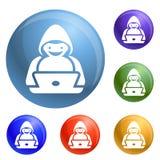 Hacker icons set vector vector illustration