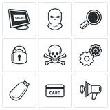 Hacker icons set. Vector Illustration. Stock Images
