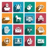 Hacker icons white set Stock Photos