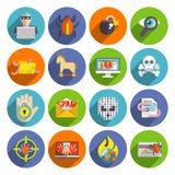 Hacker ikon mieszkania set Obraz Royalty Free