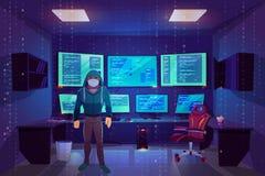 Hacker im Serverraum, mehrfache Computermonitoren lizenzfreie abbildung