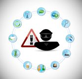 Hacker inside a link network. security warning Stock Photos