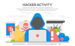 Hacker internet computer security flat concept. Hacker internet computer security technology flat concept. Hacker activity computer and e-mail spam viruses bank Stock Photo