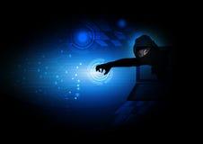 Hacker Internet security black blue background. Stock Photos