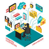 Hacker Isometric Illustration Royalty Free Stock Photo