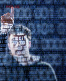 Hacker that just found the password. Hacker's hand pointing the password hidden into the binary codes Stock Photos