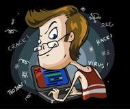 Hacker. Karikatur-Serie Stockfotografie