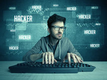 Hacker with keyboard and glasses Stock Photo