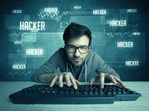 Hacker with keyboard and glasses Stock Photography