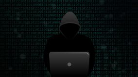 Hacker knackt sichere digitale Datenverbindung auf binär Code-Hintergrund stock footage