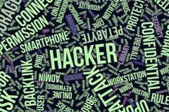 Hacker, konceptualna słowo chmura dla biznesu, technologie informacyjne lub IT, royalty ilustracja