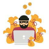 Hacker, laptop and bitcoin cryptocurrency robbery. Hacker thief with notebook and bitcoin cryptocurrency. Web unsafe security concept. Swindler try to access Royalty Free Stock Photo