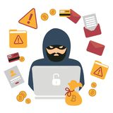 Hacker, laptop and bitcoin cryptocurrency robbery stock illustration