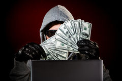 Hacker with laptop Royalty Free Stock Photography