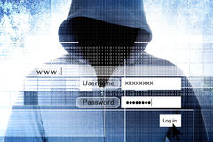 Hacker. With Log On Screen,Computer Fraud Concept Background Royalty Free Stock Photos
