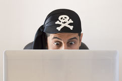 Hacker looking surprised Royalty Free Stock Photography