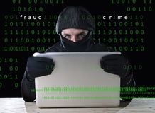 Hacker man in black using computer laptop for criminal activity hacking password and private information. Cracking password too access bank account data in Royalty Free Stock Image