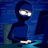 Hacker Man With Computer Stock Images