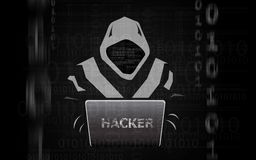 Hacker man in hoodie with laptop flat isolated stock illustration