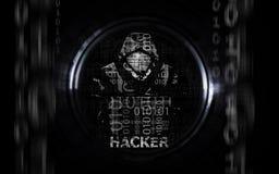 Hacker man in hoodie with laptop flat royalty free illustration
